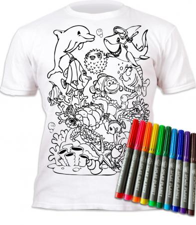 Tricou de colorat cu markere lavabile Ocean1