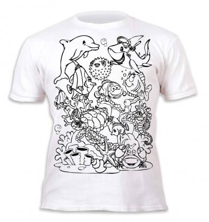 Tricou de colorat cu markere lavabile Ocean2