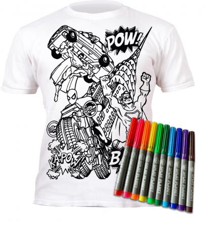 Tricou de colorat cu markere lavabile Super Eroi1