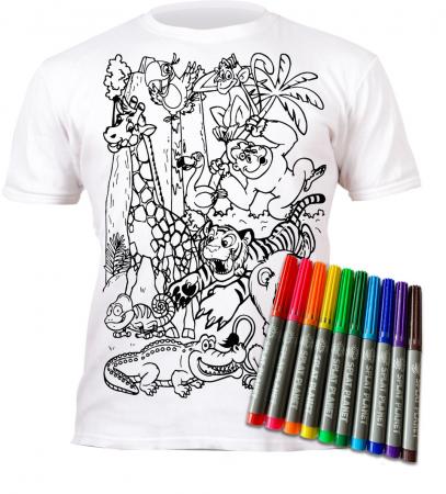 Tricou de colorat cu markere lavabile Zoo1