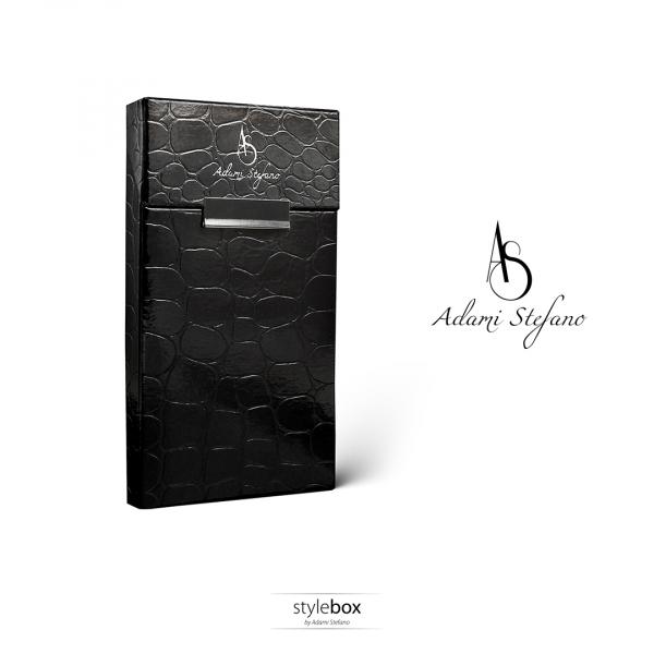 Husa ADAMI STEFANO pentru Pachete de Tigari Slim Size Leather Black 0