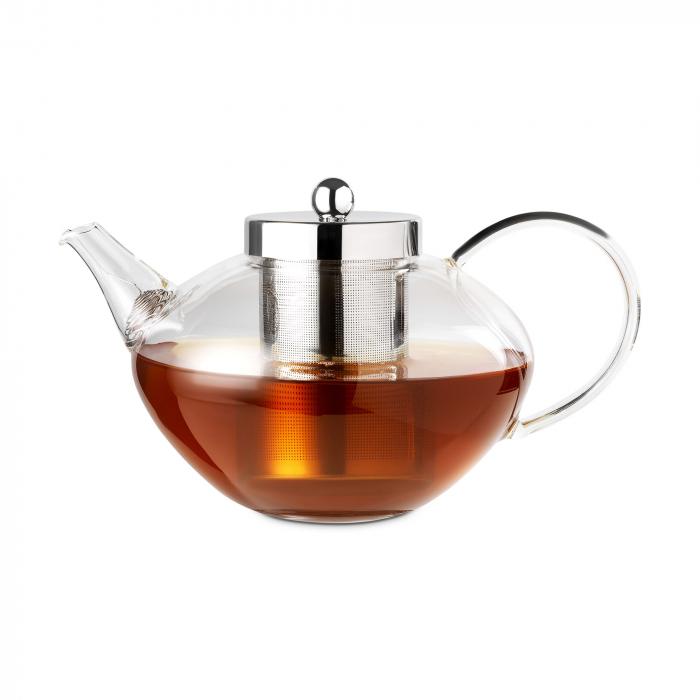 Ceainic Chelsea din sticla, ideal pentru preparea ceiului frunze, 1200ml, include infuzor din otel inoxidabil. 2