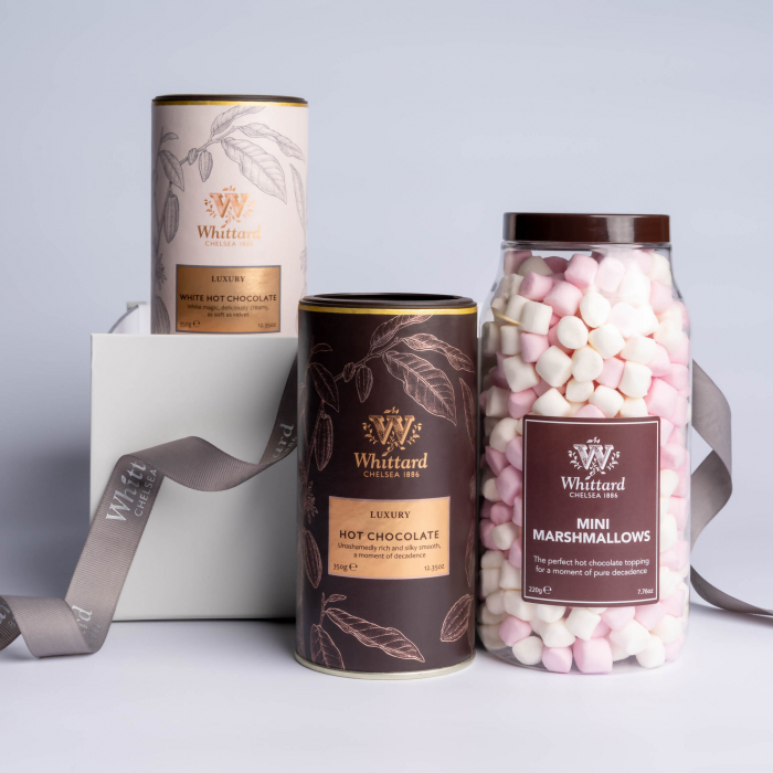 Luxury Hot Chocolate gift box: set ciocolata calda si mini bezele ambalatate in cutie cadou, Whittard of Chelsea. 0