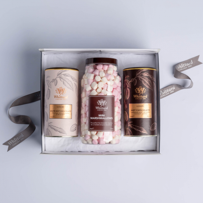 Luxury Hot Chocolate gift box: set ciocolata calda si mini bezele ambalatate in cutie cadou, Whittard of Chelsea. 1