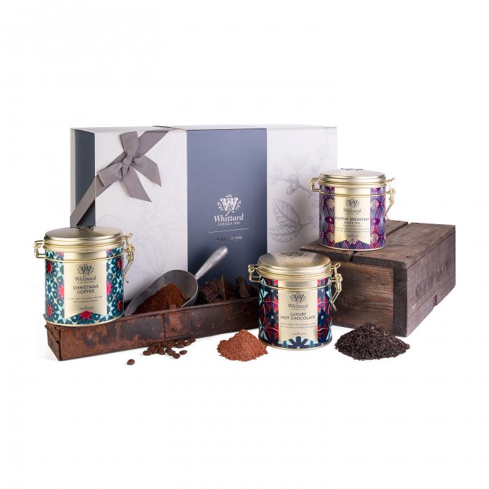 Set Christmas ceai, cafea, ciocolata calda ambalat in cutie cadou cu funda. 0