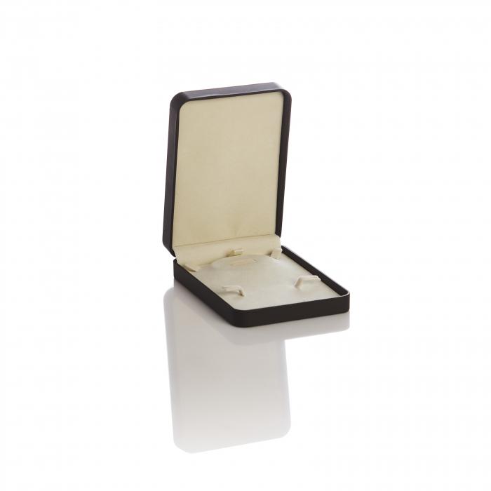 Cutie dreptunghiulara maro, piele si lemn set de bijuterie 0