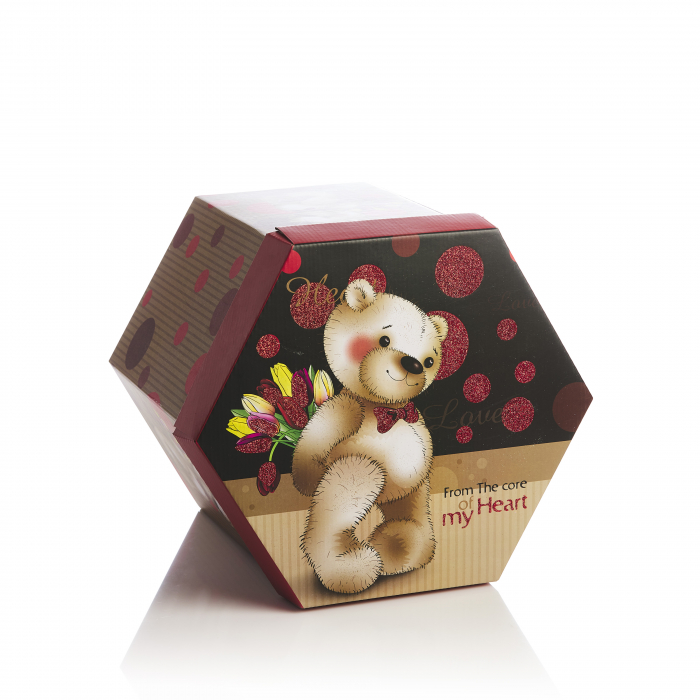 Cutie hexagonala montabila maro cu rosu urs 1