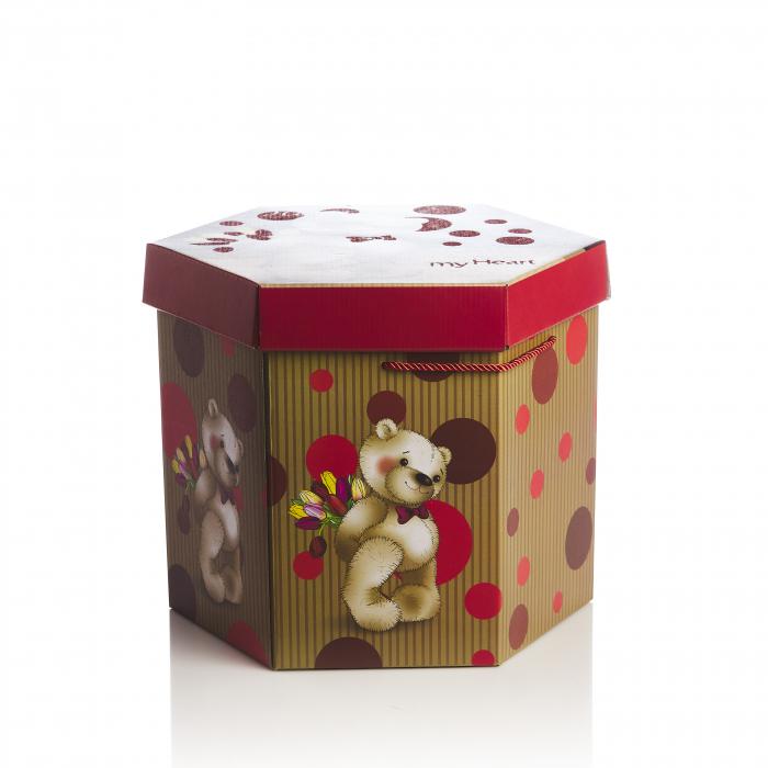Cutie hexagonala montabila maro cu rosu urs 0