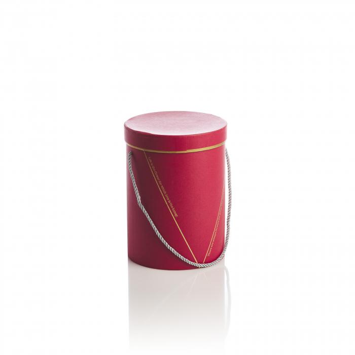 Cutie rotunda inalta cu maner, rosie banda aurie 0