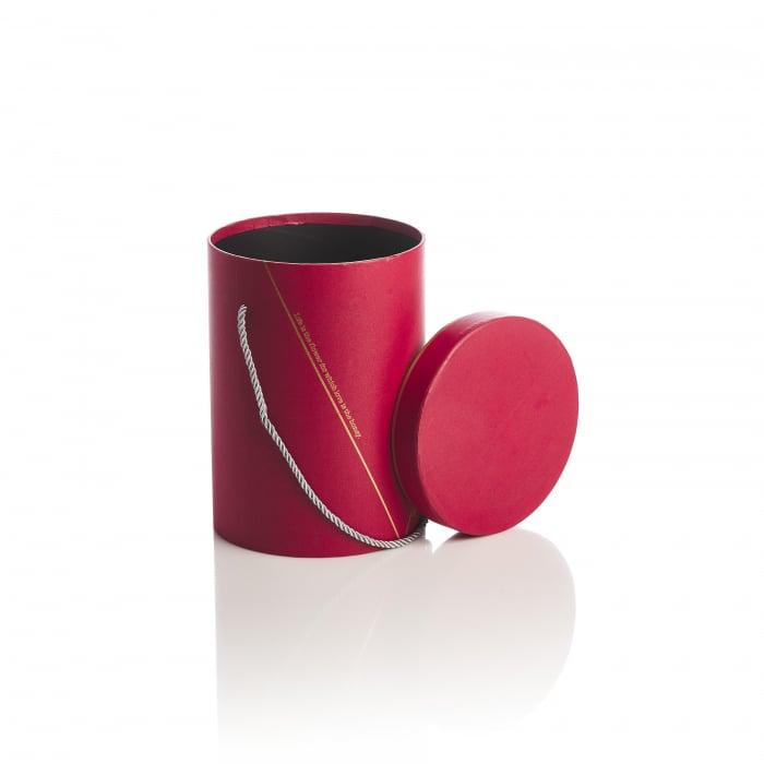 Cutie rotunda inalta cu maner, rosie banda aurie 1