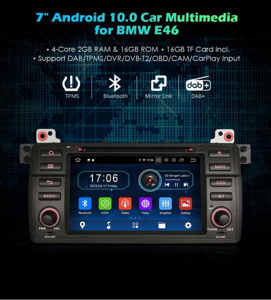 Navigatie auto, Pachet dedicat BMW Seria 3 E46/M3, 7 inch, Android 10.0 0