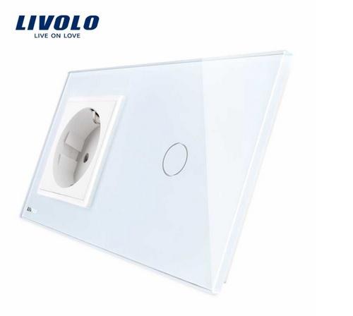 Priză simplă din sticlă + Întrerupător din sticla cu touch simplu Livolo [0]