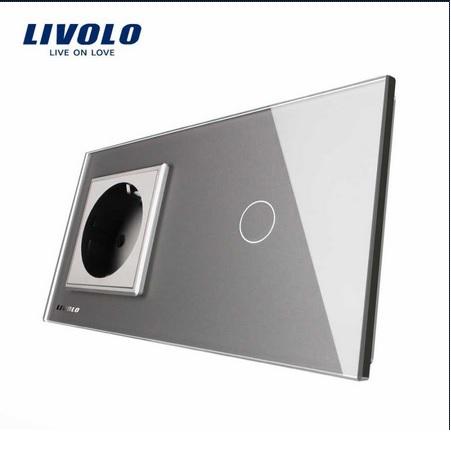 Priză simplă din sticlă + Întrerupător din sticla cu touch simplu Livolo [1]