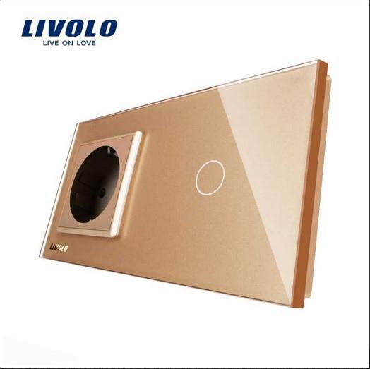 Priză simplă din sticlă + Întrerupător din sticla cu touch simplu Livolo [3]