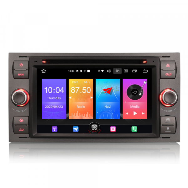 Navigatie auto 2 din, Pachet dedicat Ford Fusion Focus C-Max Fiesta Kuga Mondeo, 7 Inch, Android 10.0 0