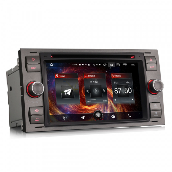 Navigatie auto 2 din, Pachet dedicat Ford Fusion Focus C-Max Fiesta Kuga Mondeo, 7 Inch, Android 10.0 8
