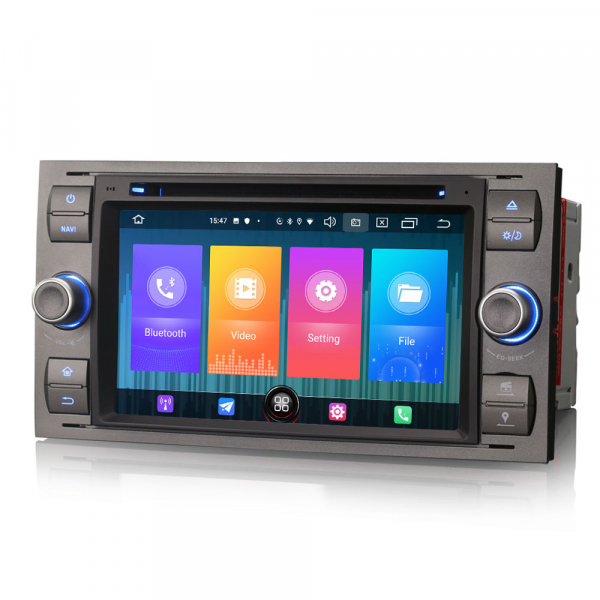 Navigatie auto 2 din, Pachet dedicat Ford Fusion Focus C-Max Fiesta Kuga Mondeo, 7 Inch, Android 10.0 1