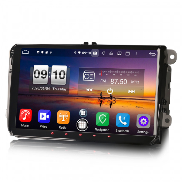 Navigatie auto 2 din, Pachet dedicat VW Golf Passat Tiguan Polo Eos Seat Skoda Stereo, Android 10, 9 inch, Octa Core 1