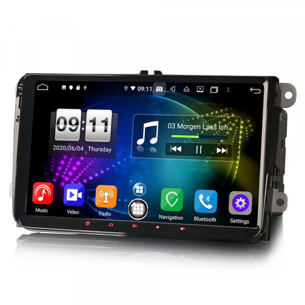Navigatie auto 2 din, Pachet dedicat VW Golf Passat Tiguan Polo Eos Seat Skoda Stereo, Android 10, 9 inch, Octa Core 2