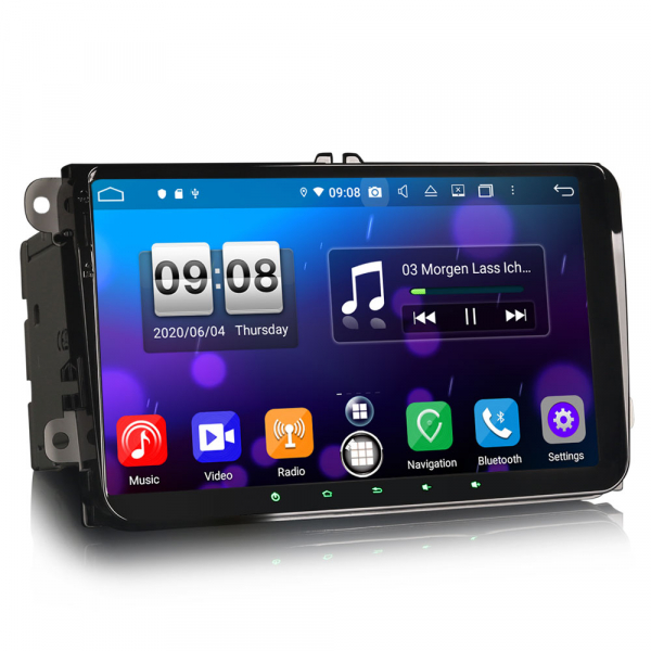 Navigatie auto 2 din, Pachet dedicat VW Golf Passat Tiguan Polo Eos Seat Skoda Stereo, Android 10, 9 inch, Octa Core 3