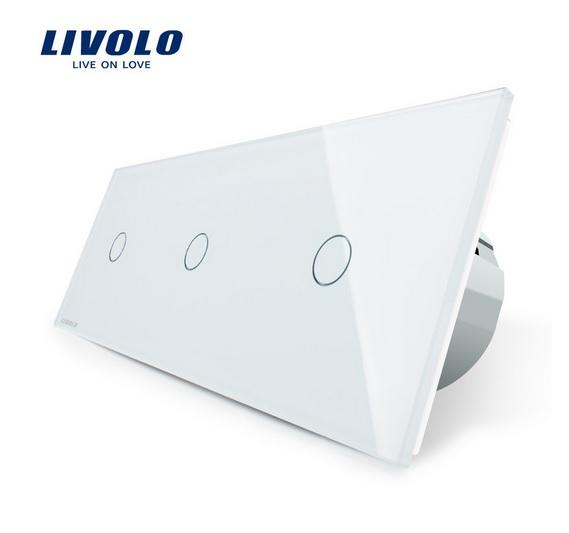 Intrerupator simplu+simplu+simplu cu touch Livolo din sticla 0