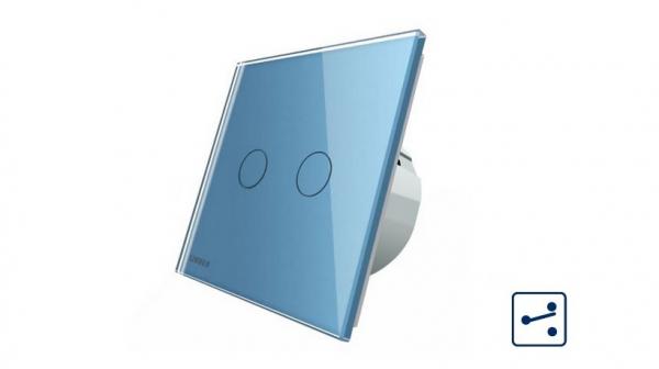 Intrerupator dublu cap scara - cap cruce cu touch Livolo din sticla - protocol ZigBee 2