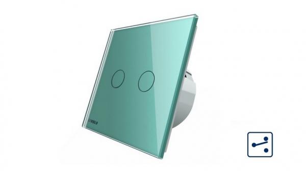 Intrerupator dublu cap scara - cap cruce cu touch Livolo din sticla - protocol ZigBee 0