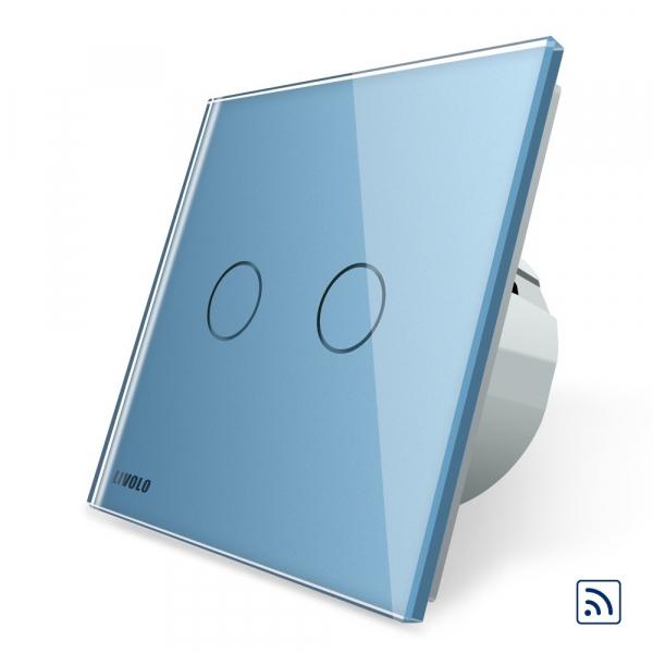 Intrerupator dublu cap scara - cap cruce wireless cu touch Livolo din sticla 2
