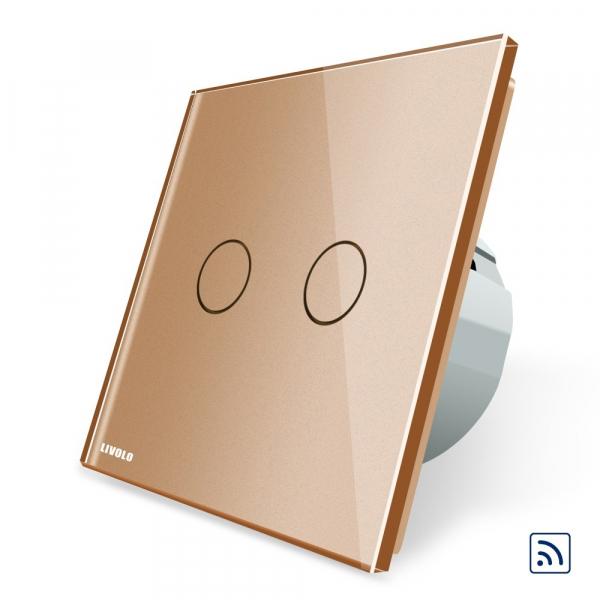 Intrerupator dublu cap scara - cap cruce wireless cu touch Livolo din sticla 3