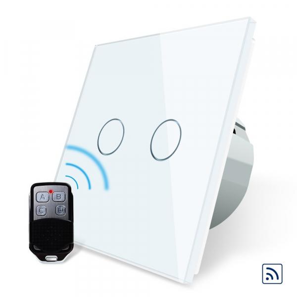 Intrerupator dublu cu touch Livolo, Wireless, Telecomanda inclusa 1