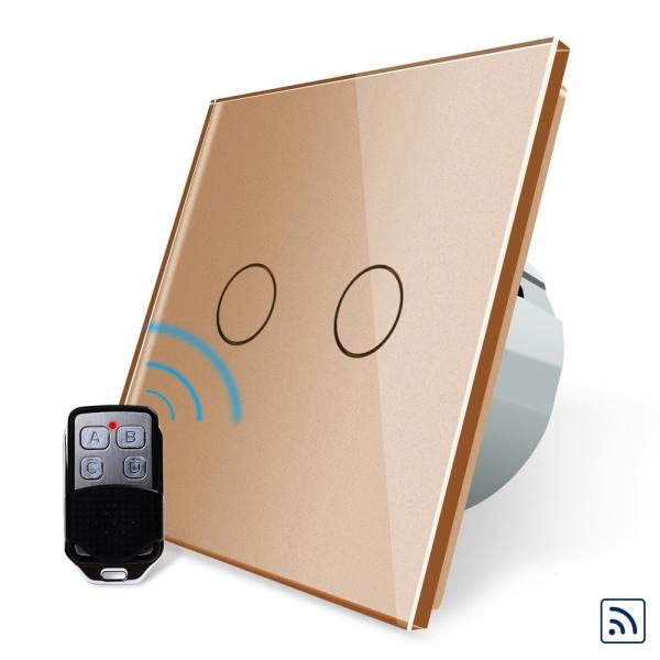 Intrerupator dublu cu touch Livolo, Wireless, Telecomanda inclusa 2