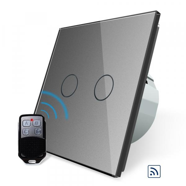Intrerupator dublu cu touch Livolo, Wireless, Telecomanda inclusa 0