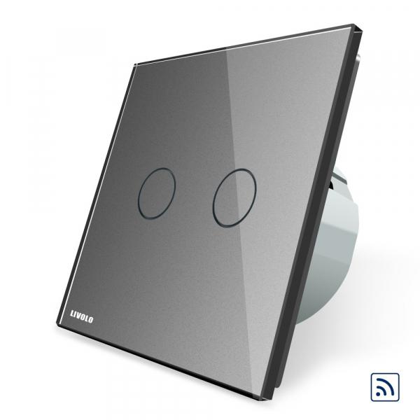 Intrerupator dublu cap scara - cap cruce wireless cu touch Livolo din sticla 4