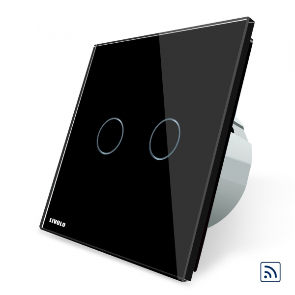 Intrerupator dublu cap scara - cap cruce wireless cu touch Livolo din sticla 0