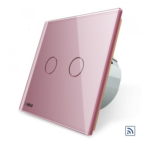 Intrerupator dublu cap scara - cap cruce wireless cu touch Livolo din sticla 5