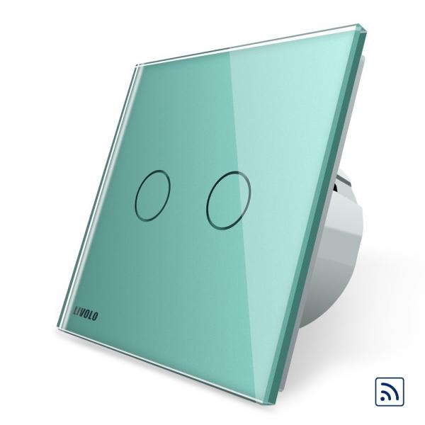 Intrerupator dublu cap scara - cap cruce wireless cu touch Livolo din sticla 6