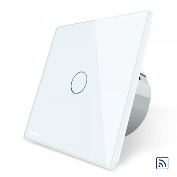 Intrerupator simplu cap scara / cap cruce wireless cu touch Livolo din sticla 1