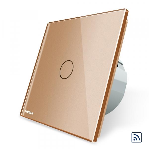 Intrerupator simplu cap scara / cap cruce wireless cu touch Livolo din sticla 3