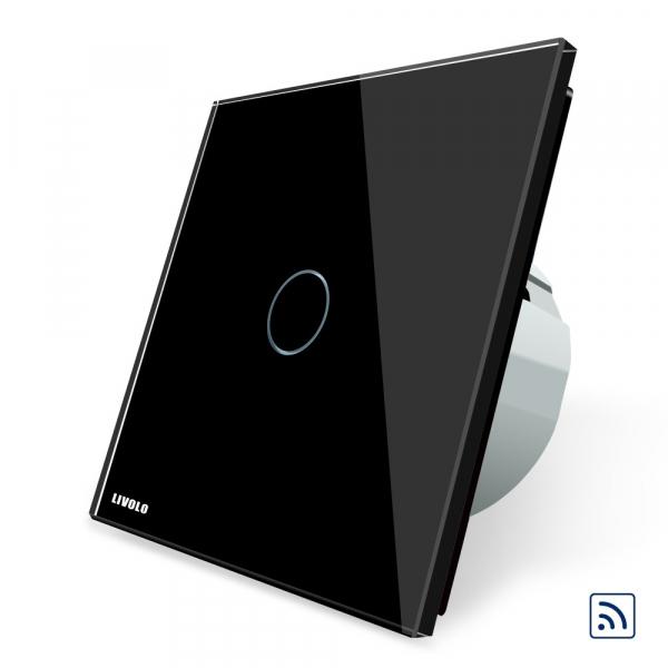 Intrerupator simplu cap scara / cap cruce wireless cu touch Livolo din sticla 0