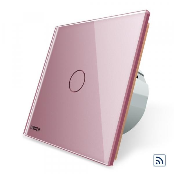 Intrerupator simplu cap scara / cap cruce wireless cu touch Livolo din sticla 5