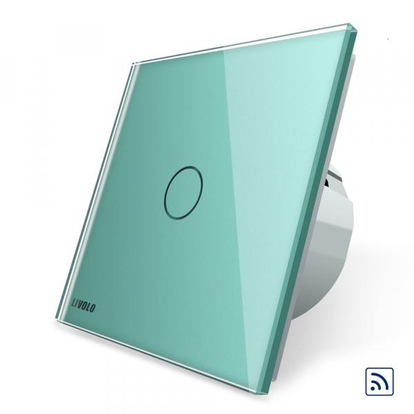 Intrerupator simplu cap scara / cap cruce wireless cu touch Livolo din sticla 6