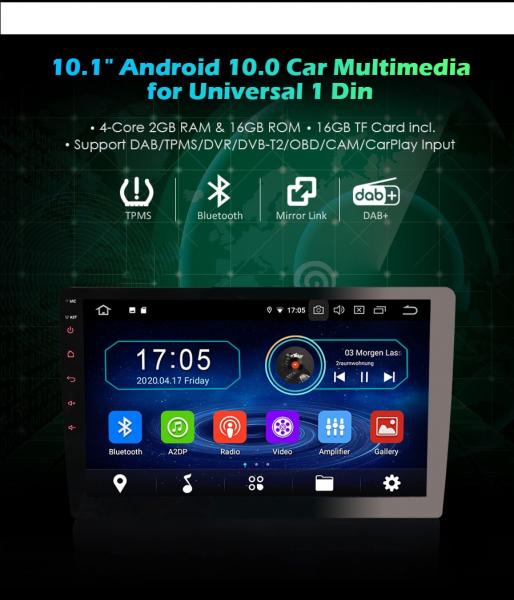 Navigatie auto universala/Multimedia player cu articulatie rotativa reglabila,10.1 inch, Android 10, Quad Core, 2Gb Ram 2