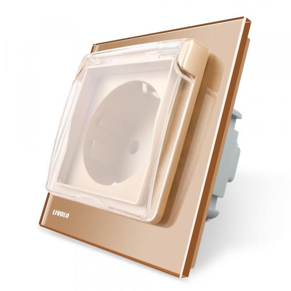 Priza simpla Livolo cu rama din sticla si capac de protectie rezistent la apa [2]