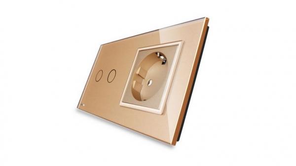 Intrerupator dublu cu touch + priza simpla Livolo rama din sticla 2