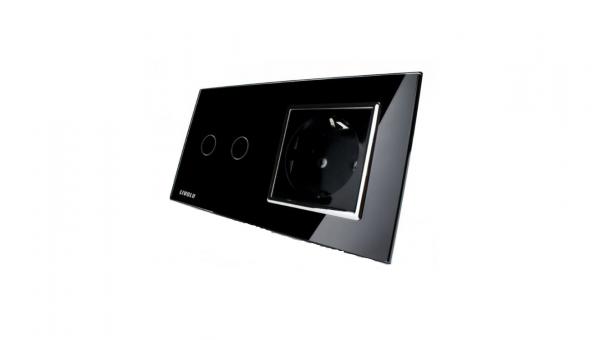 Intrerupator dublu cu touch + priza simpla Livolo rama din sticla 3