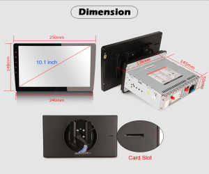 Navigatie auto universala/Multimedia player cu articulatie rotativa reglabila,10.1 inch, Android 10, Quad Core, 2Gb Ram8