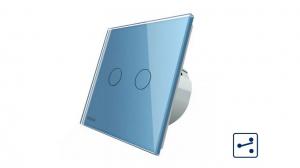 Intrerupator dublu cap scara - cap cruce cu touch Livolo din sticla - protocol ZigBee2