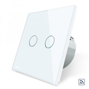 Intrerupator dublu cap scara - cap cruce wireless cu touch Livolo din sticla1
