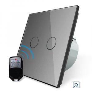 Intrerupator dublu cu touch Livolo, Wireless, Telecomanda inclusa0