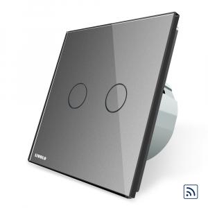 Intrerupator dublu cap scara - cap cruce wireless cu touch Livolo din sticla4